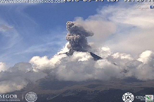 Reportan actividad explosiva del Popocatépetl
