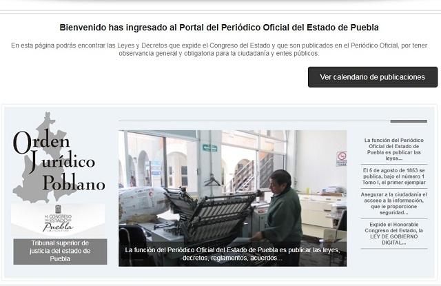 Desde mayo Periódico Oficial de Puebla bajó la cortina en web
