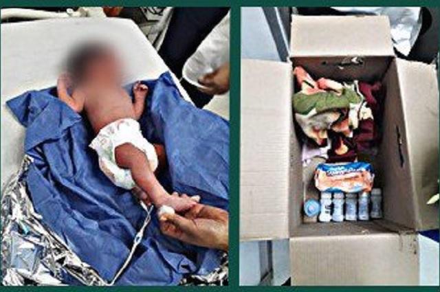 Abandonan a bebé en una caja de cartón