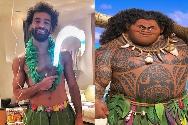 Mohamen Salah se disfraza como personaje de Disney para festejar a su hija