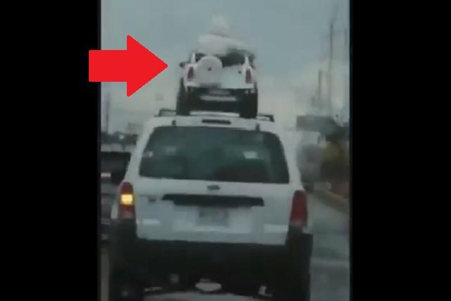 Pasean a niños en el techo de vehículo mientras llueve