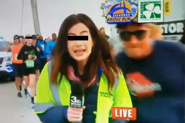 Video: Captan momento en que runner toca el trasero de una reportera