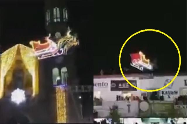 ¡Ya está en México! Santa Claus voló sobre Tlaxcala y se estrella con edificio