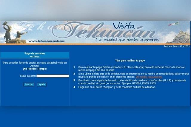 Alertan por falsa página que cobra el predial en Tehuacán