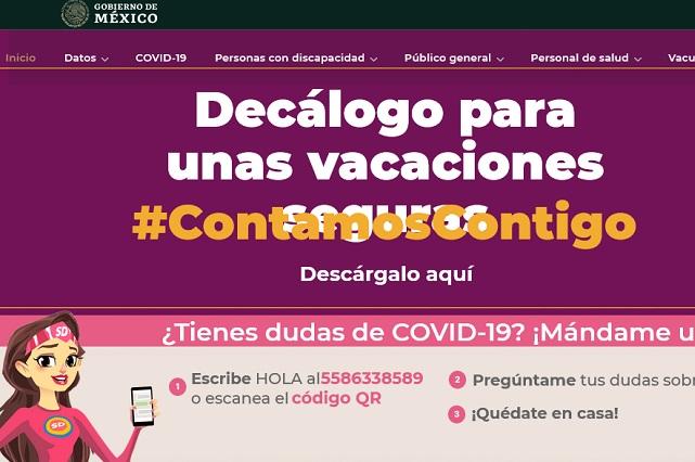 Aparecen y borran fotos de chicas en portal oficial de Coronavirus