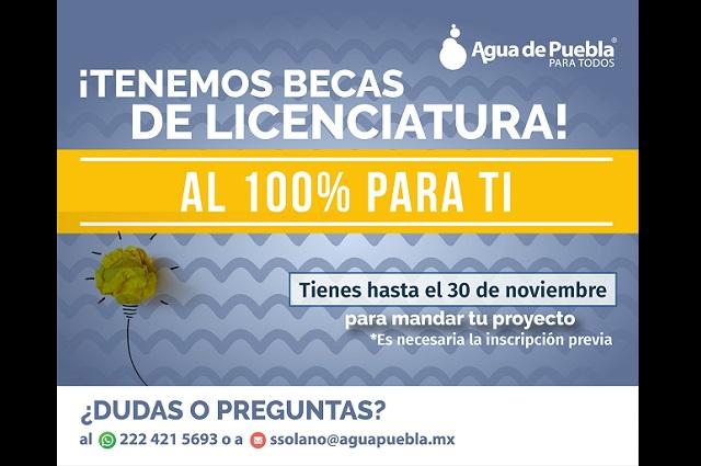 Agua de Puebla promueve seis becas universitarias al 100 %
