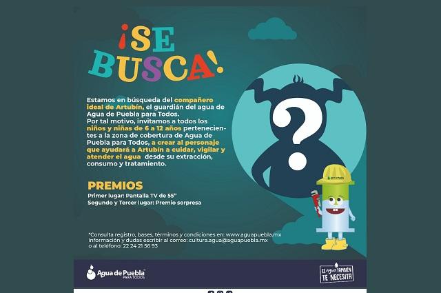 Agua de Puebla lanza concurso ¡Se busca amigo de Artubín!