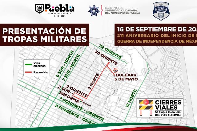 Cierran calles en Puebla capital por presentación de tropas