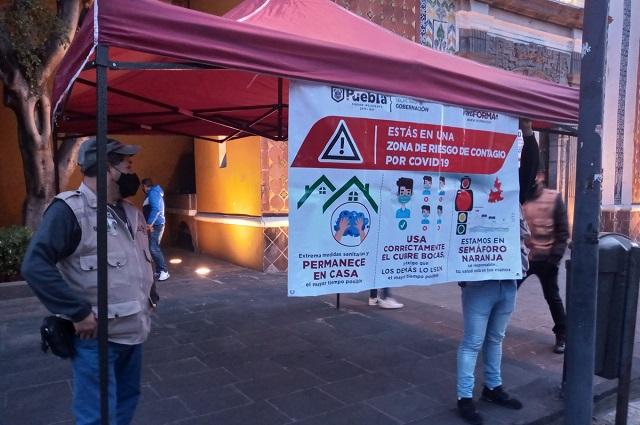 Intensifican  prevención por semáforo naranja en Puebla capital