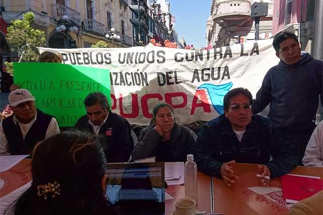 Pobladores de municipios forman frente contra privatización del agua
