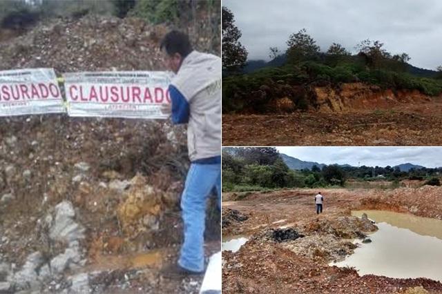 Clausura Profepa extracción ilegal en mina de arcilla en Xicotepec