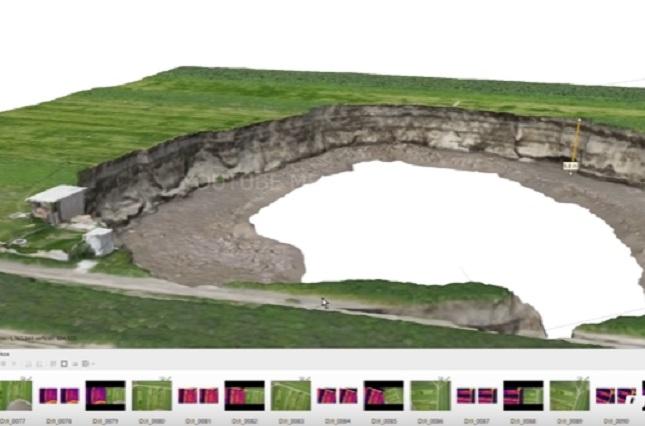 Calculan profundidad y volumen del socavón de Puebla con imágenes 3d