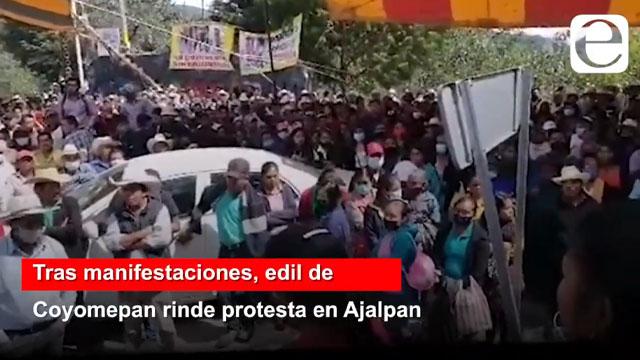 Tras manifestaciones, edil de Coyomepan rinde protesta en el CIS de Ajalpan