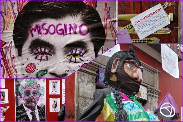Feministas toman de manera simbólica la CDH en Puebla