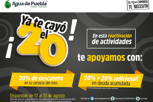 Agua de Puebla ofrece 20% de descuento en pago de agosto