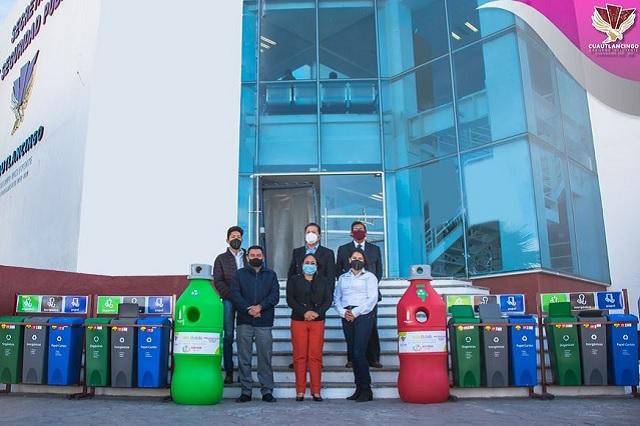 En Cuautlancingo fomentan reciclaje con la instalación de contenedores