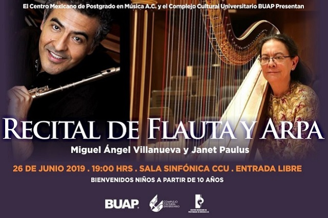 Recital de Flauta y Arpa, en el CCU este miércoles 26 de junio