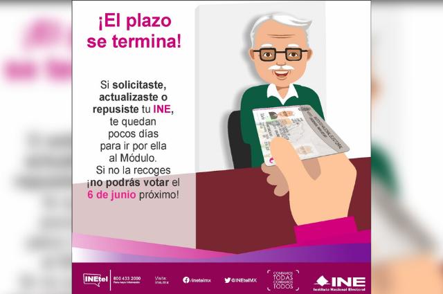 Vence plazo para recoger reimpresión de credencial INE