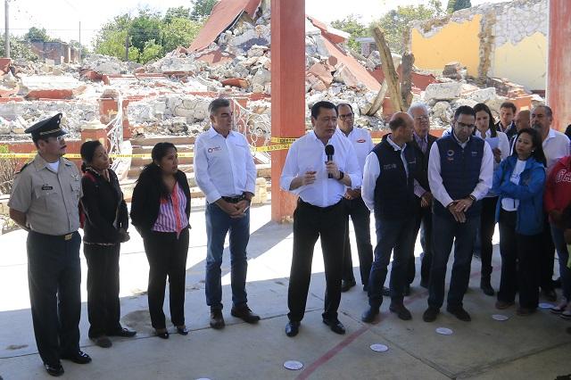 Inicia entrega de recursos para damnificados en Puebla, confirma Chong