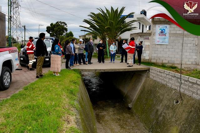 Supervisa edil obras para evitar inundaciones en Cuautlancingo
