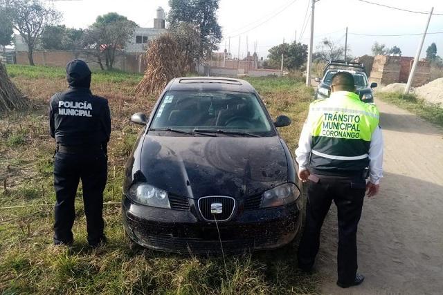 Recupera vehículo robado la policía de Coronango