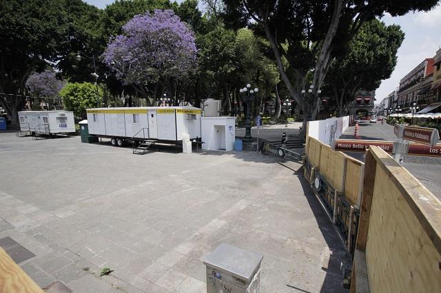 Se detienen obras previas a la remodelación del zócalo de Puebla
