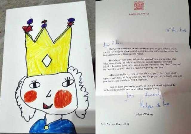 Niña de 5 años invita a la reina Isabel II a su cumpleaños