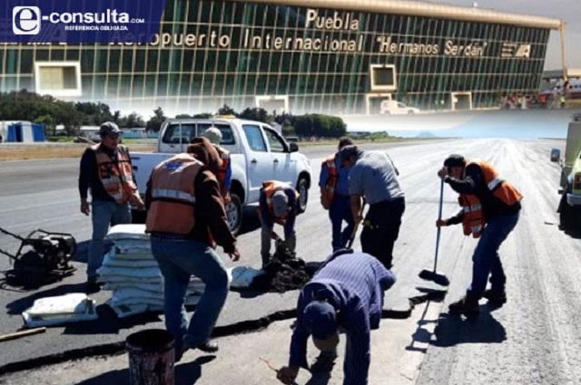 Van por remodelación de la pista del aeropuerto de Puebla