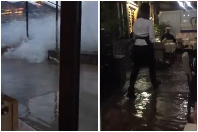 Inundación en restaurante arruina cena romántica a pareja