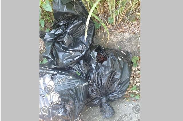 Hallan restos humanos en bolsas en Venustiano Carranza