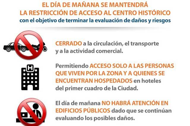 Restringirán acceso al centro de Puebla este miércoles
