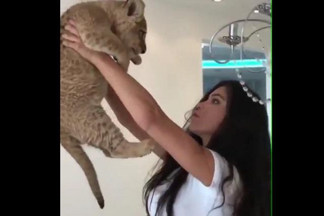 Chica recrea escena del Rey León con toque sexy pero algo sale mal