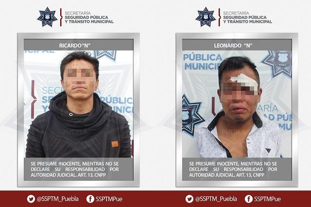 Detuvieron policías de Puebla a asaltantes de transeúntes