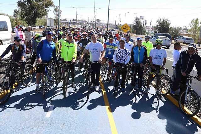 Inaugura Moreno Valle la ciclopista Puebla- Cholula