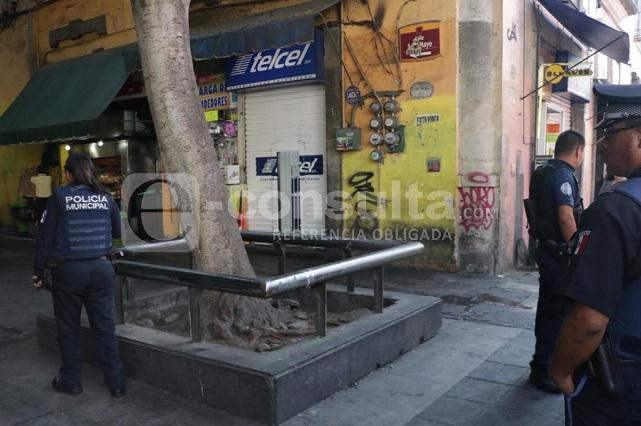 Roban celulares y dinero en local del Centro Histórico de Puebla