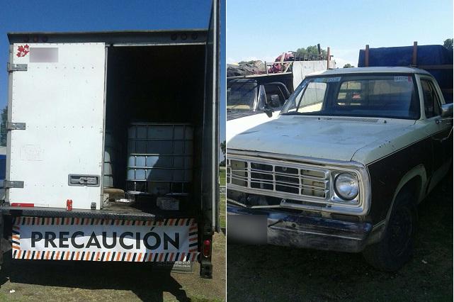 Recuperan vehículos usados para robar hidrocarburo