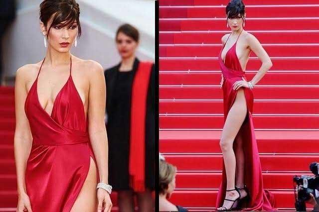 Seduce Bella Hadid con atrevido e infartante vestido rojo en Cannes