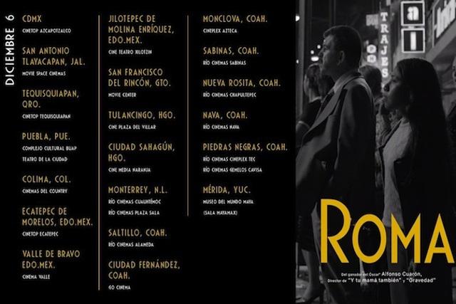 Roma se proyectará en el CCU y en el Teatro de la Ciudad