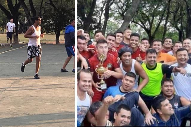 Ronaldinho se coronó en torneo de futbol de la cárcel; ganó un cerdo de 15 kilos