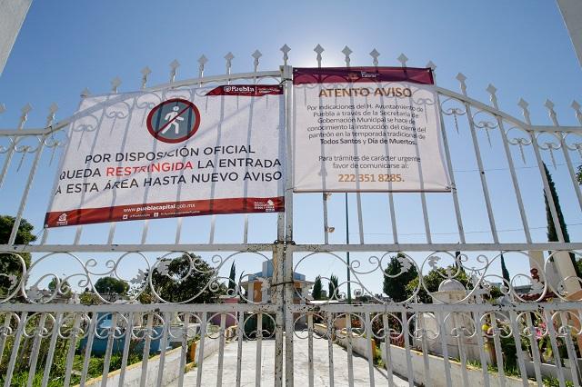 Violan juntas auxiliares cierre de panteones en Puebla