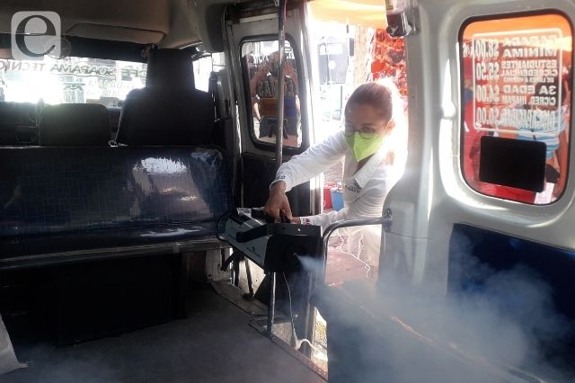 Prestadores de servicios sanitizaron Atlixco