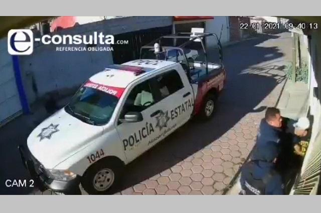 Capta video abuso de la Policía Estatal en Amozoc