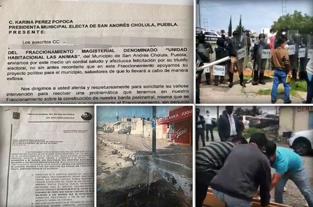 Se confrontan vecinos por barda anti robos en San Andrés Cholula