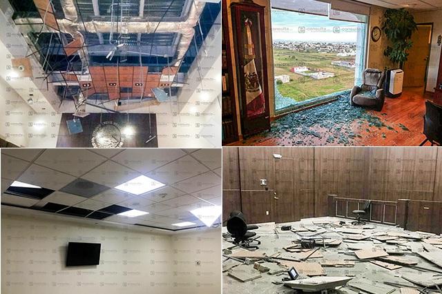 Caen cristales y plafones en sede del Poder Judicial en Puebla