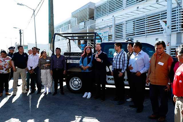 Banck y vecinos refuerzan seguridad en San Pablo Xochimehuacan