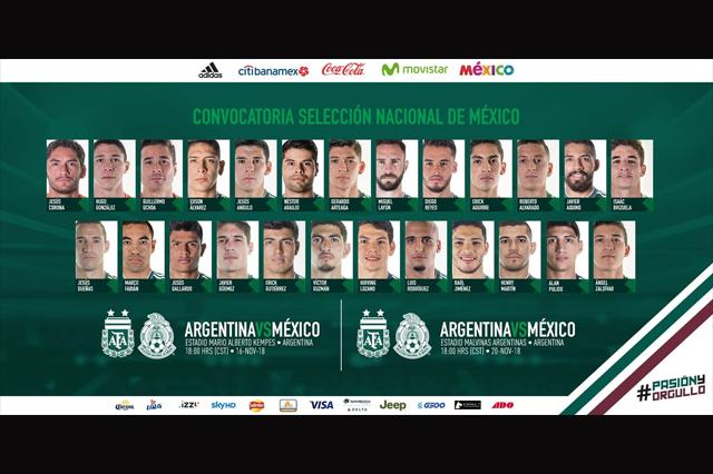 Minoría europeos en selección mexicana para choques con Argentina