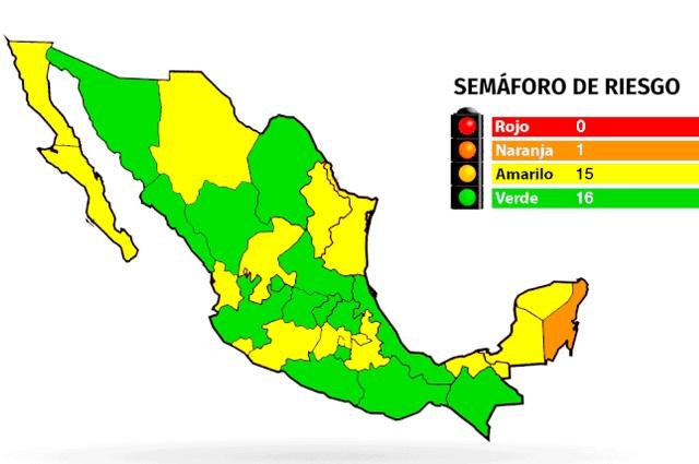 Quintana Roo, el único estado en semáforo naranja