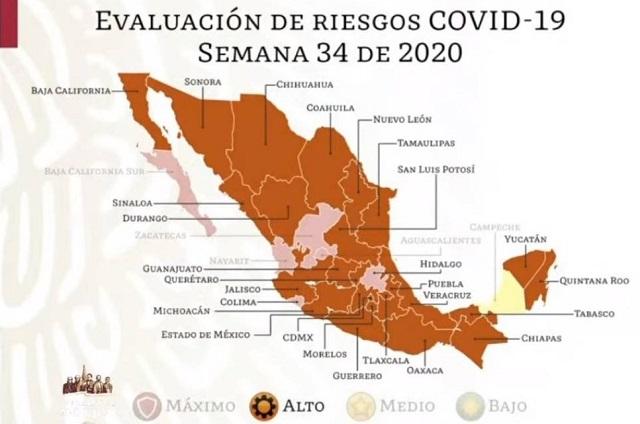 Así el semáforo epidemiológico en México desde el lunes
