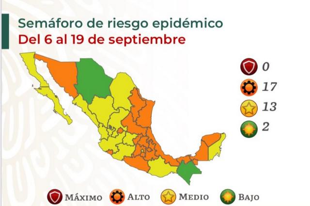 Puebla vuelve a naranja en fiestas patrias pese a no tener vacunas
