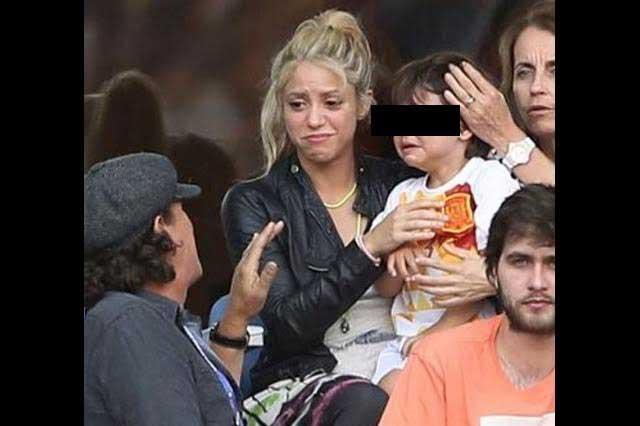 Shakira comparte tierna foto de Milan llorando por la derrota de España
